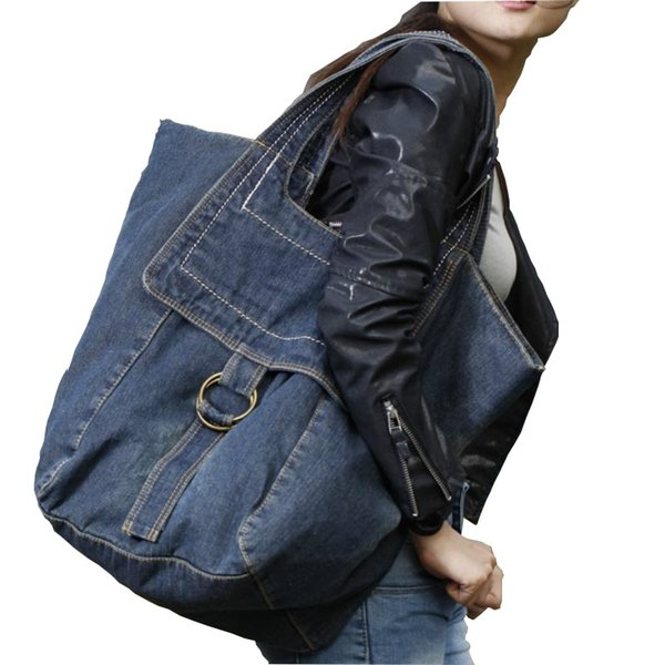 2019 New Denim Women's Bag Jeans Bags Cowboy Zipper Personality Large-capacity casual female solid color hot #259327