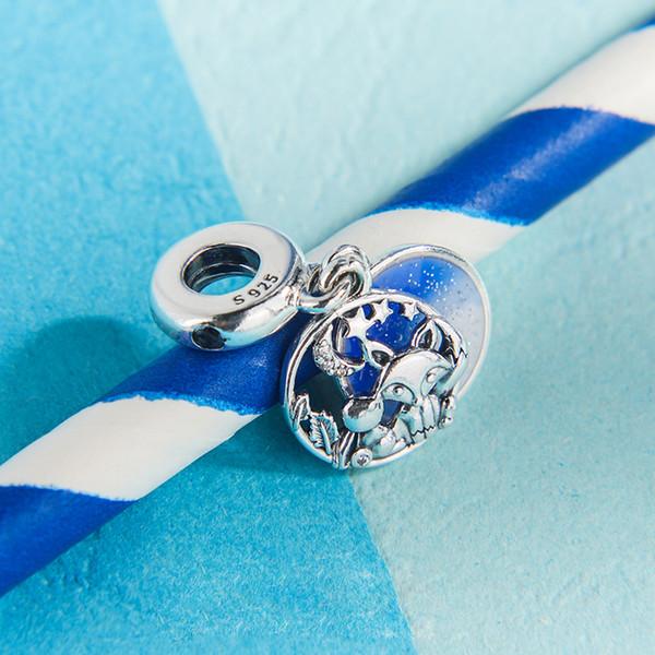 2019 NEW S925 серебро синий Эмаль лиса и кролик Подвеска очарование бисера Fit Pandora ювелирных изделий DIY браслеты ожерелья подвеска