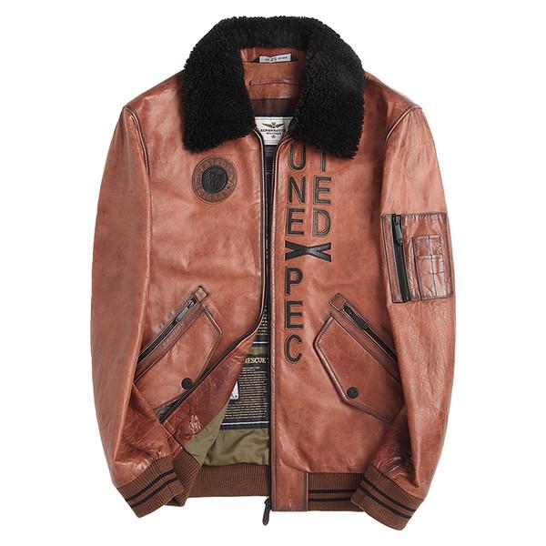 PTSLAN 2019 Erkekler Gerçek Deri Ceket Gerçek Kuzu derisi ceketler Doğal koyun postu Coat Giyim Motosiklet