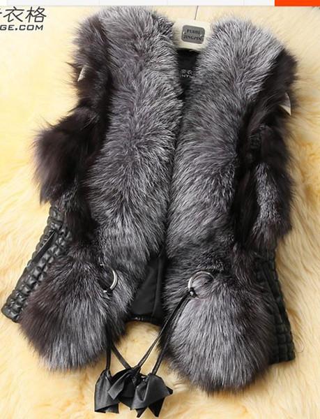 2019 Hot spring winter Leather grass long-haired faux fur vest female models Office slim zipper fur coats casaco feminino Q493