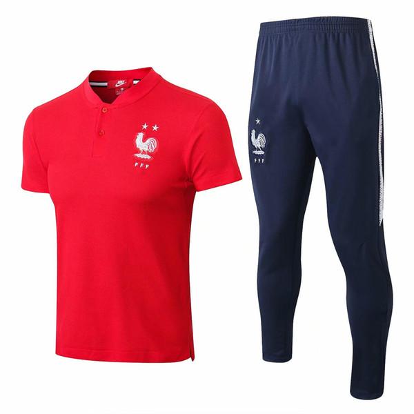 wholesale 1819 high qualtiy National team 2 stars soccer short sleever jerseys Mbappe polo football training suit Griezmann tracksuit suit