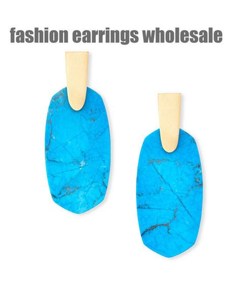 wholsesale produttore economico europeo americano orecchini amante della vite prigioniera moda spedizione gratuita nuovo marchio designer di gioielli rettangolo marrone perfetto