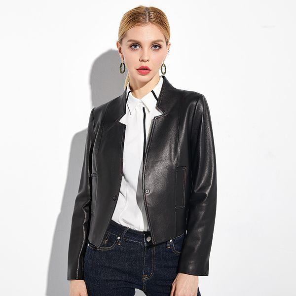 Versión coreana de cuero chaqueta de cuero femenina 2018 nueva moda casual corta cintura alta oveja chaqueta