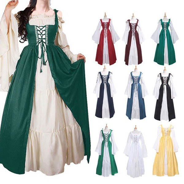 Halloween Fashion Dresses Oktoberfest Beer Girl Costume Maid Wench Germany Bavarian Plus Size 5XL Medieval dress costume Dirndl