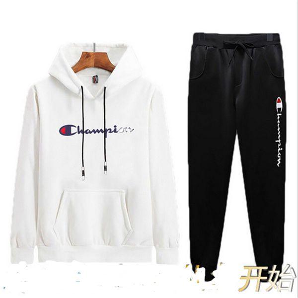 Erkek Sonbahar Kıyafetler Uzun Kollu Kapşonlu Pantolon Eşofman Tiki Tarzı Rahat Kazak Şampiyonu Sportwear İki Adet Setleri Giysileri DHL B82001