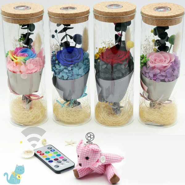 Preserved Flower Gift Qixi Festival Valentine's Day Birthday Gift Luminous Glass Cover Wishing Bottle Colorful Rose Gift Box