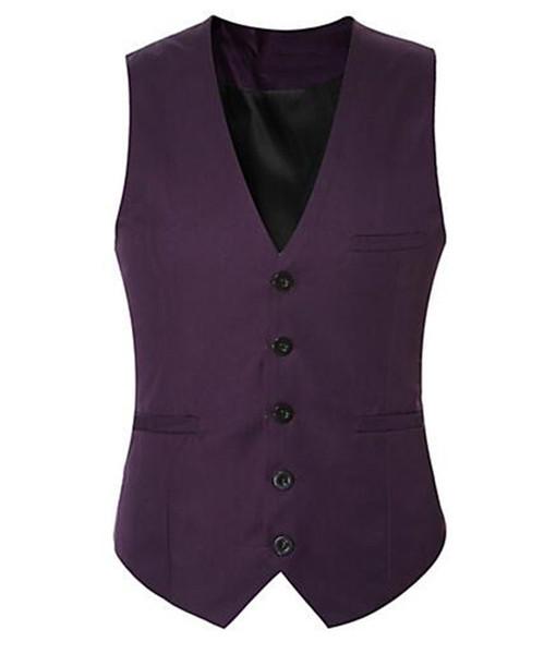 Daily Regular Vest Pour Hommes De Couleur Pourpre élégant Gilet, Couleur Unie V Cou Sans Manches Slim Fit Veste D'homme D'affaires