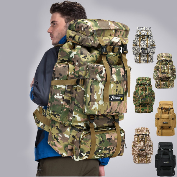 Outdoor 70L Hiking Mountaineering Backpack Water Resistant Army Large Camping Bag MOLLE Camouflage Field Breathable Rucksack Men #266132