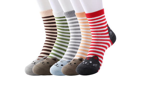 Women animal cat dog art fancy design 5 pairs fun crazy socks