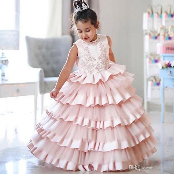 Compre Moderno Vestido Para Niñas Pequeñas Para La Boda Joya Cuello Satinado Y Tul Torta Pastel Fiesta Fiesta Niños Vestido De Cumpleaños A 6111 Del