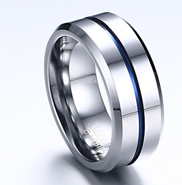 2019 European and American fashion new men's tungsten steel ring 8mm personality can be lettering jewelry wedding ring free shipping