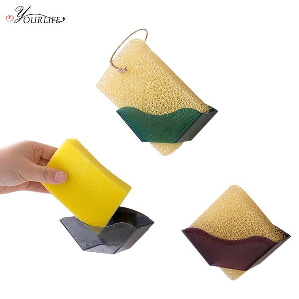 wholesale Kitchen Sink Drain Holder Sponges Scrubbers Soap Storage Rack Self Adhesive Sponge Holder Kitchen Sundries