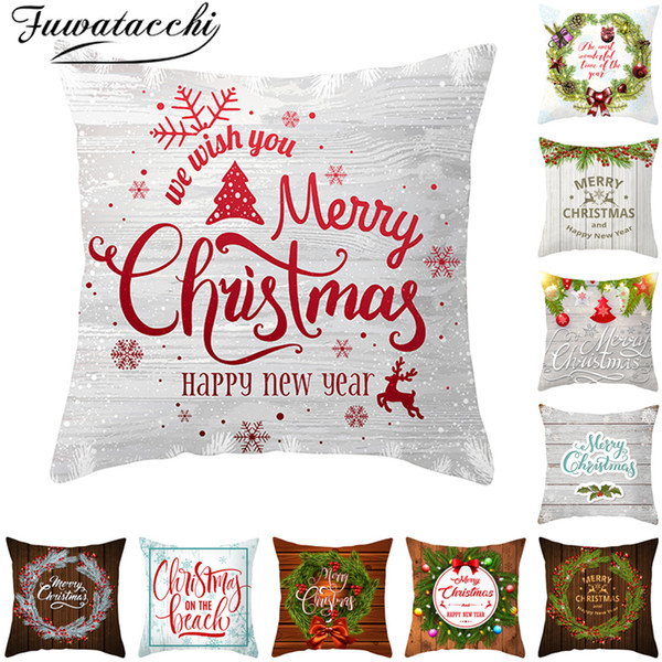 Groovy Fuwatacchi Christmas Pillow Cover Throw Pillows For Couch Pillowcase Polyester Home Sofa Chair Decorative Pillow Christmas Tree Cushions For Lounge Gmtry Best Dining Table And Chair Ideas Images Gmtryco