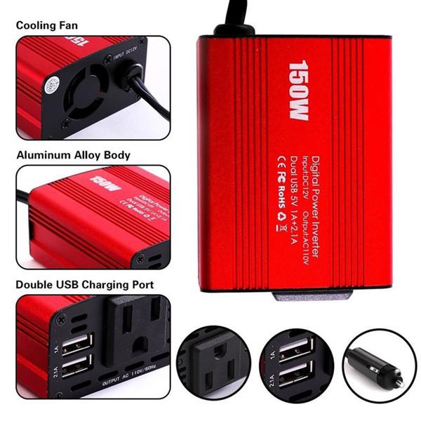 Car Power invertor  150W DC12V to AC220V+USB 5V Adapter Charger US Plug