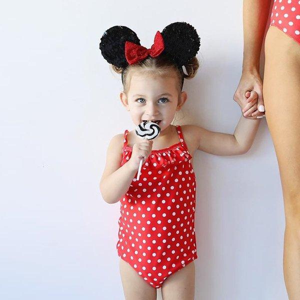 Baby Mädchen One Pieces Kleidung Bodysuit Neugeborenen 2019 Sommer ärmellose Bodys mit Stirnband Rüschen Dot gedruckt Red Girl Bodysuits