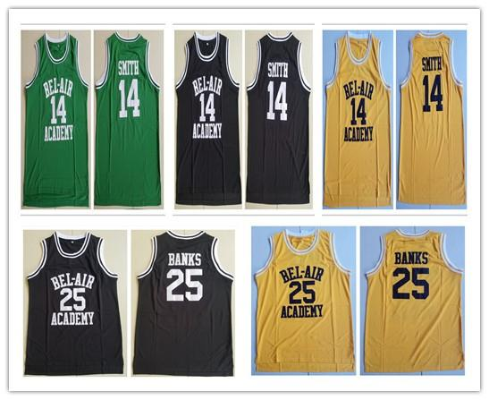 The Movie Fresh Prince of Bel-Air #14 Will Smith #25 Carlton Banks Bel-Air Academy Movie Full Stitched Jersey S--2XL
