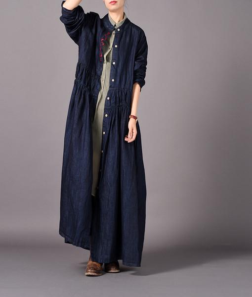 Женщины осень джинсовые пальто и пиджаки ретро вышитые пальто женские старинные однобортный длинное пальто 2018 осень