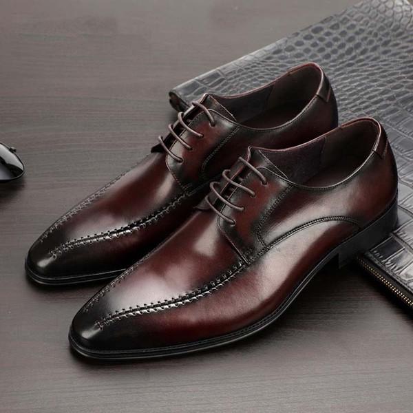 Luxury натуральная кожа Формальное платье обувь мужчин остроконечные Toe Lace Up Elegant Бизнес Обувь Удобная оксфорды Обувь Размер