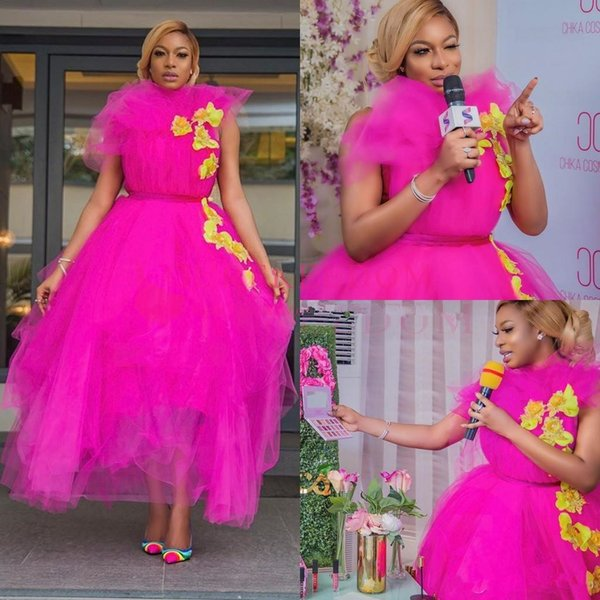 2020 Fuchsia High Neck Prom Dresses Ruffles Tiered Skirts Ankle Length Yellow Appliques Formal Occasion Evening Party Dresses Custom Made