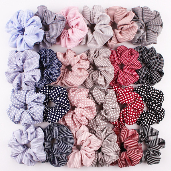 top popular Scrunchies Headwear Large intestine Hair Ties Ropes Elastic Stripe Hairbands Girls Ponytail Holder Trendy Hair Accessories 24 Designs YW2114 2020