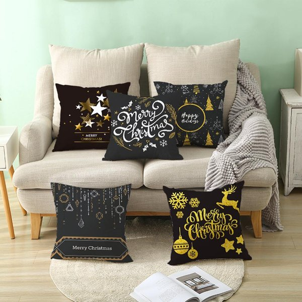 Chrismas Snowflake Elk Star Pillow Case Cushion Cover Office Home Sofa Decor