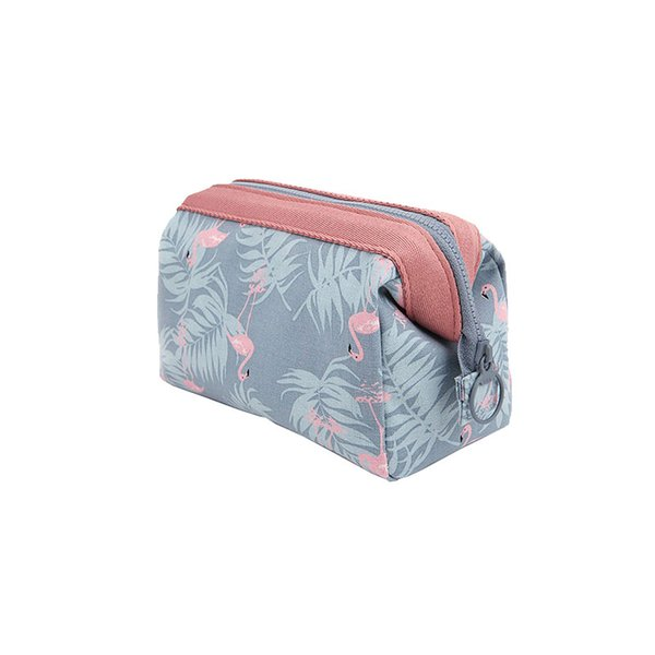 Big Capacity Box Shaped Fashion Cosmetic Bag Waterproof Polyester Floral Printing Zipper Makeup Bags