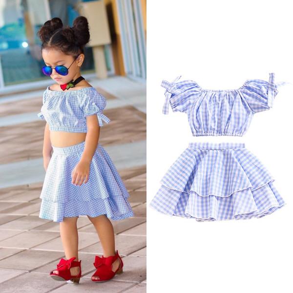 Bebek Kız Elbise Set Ekose Kapalı Omuz Giyim Takım Elbise Çocuklar Kırpma Üst + Etek Kıyafetleri Giysileri Yaz Mavi Set