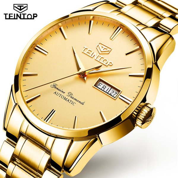 TEINTOP Full Gold Watch Fashion Mens Watches Top Brand Luxury Automatic Mechanical Watches For Men Waterproof Date Men's Clock