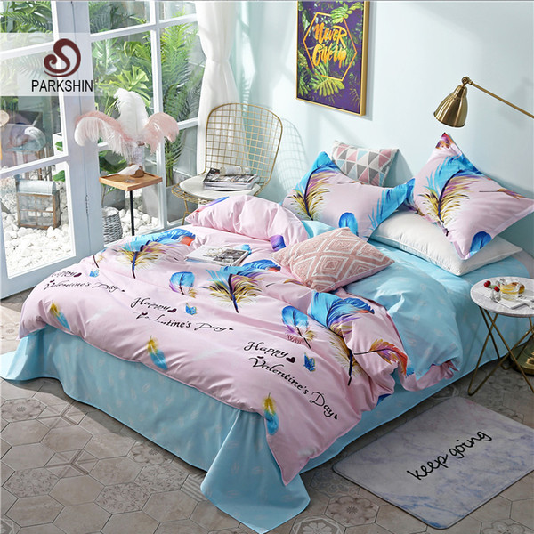 ParkShin Bedding Set Feathers Comforter Duvet Cover Bedspread Elastic Sheets Set Nordic Double Queen King Bed Linens Bedclothes