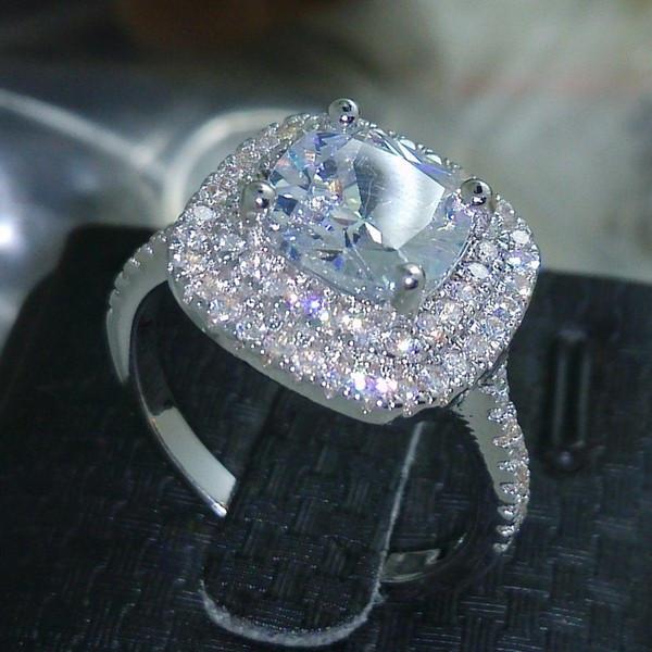 Размер 5-10 Роскошные Ювелирные Изделия стерлингового серебра 925 заполнены полный топаз CZ Diamond Gem женщины свадьба имитируется Бриллиантовое обручальное кольцо подарок