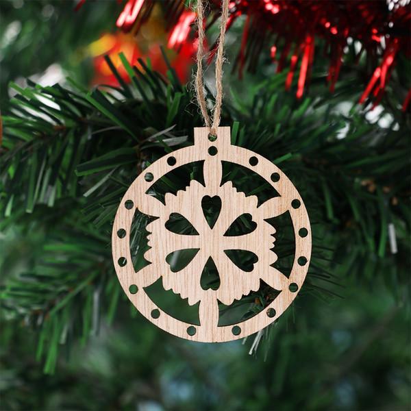 3pcs Xmas Tree Ornaments Creative Wooden Pendants Ornaments DIY Wood Crafts Christmas Party Decorations Kids Gift