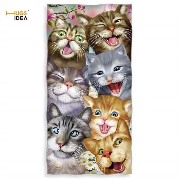 HUGSIDEA Microfiber Towels Cats/Dogs/Horse/Ocean Selfie 3D Printing Large Thick Bath Towels for Kids Baby Creative Beach Towel