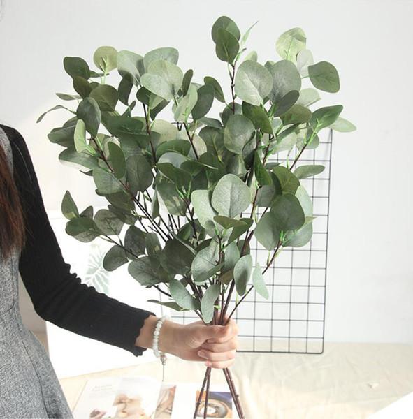 Fiore artificiale eucalipto eucalipto lascia foglie di foglie di soldi decorazione della casa finto fiore simulazione foglie di foglie