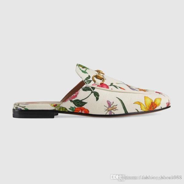Zapatilla de lona genuina Princetown Flora para mujer, diseñadores Pisos Mulas Moda Sandalias al aire libre Colección de primavera para damas Tamaño 35-41