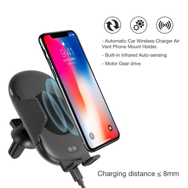 New QI Car Wireless Charger Automatic Induction Clamping Air Vent Mount Holder Quick Charging for Samsung S9 S8 S7 and iPhone 8 X XS