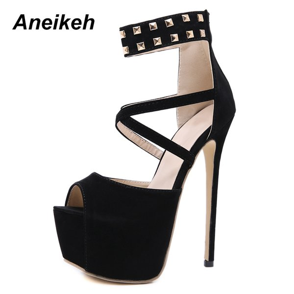 wholesale Spring/Autumn Black Solid Platform Fashion Super High Heels Woman Thin Heels Shoes Elegant Pumps Shoes Zapatos Mujer 40