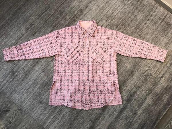2019 nuevas damas de alta calidad de moda de manga larga camisa de solapa cheque 0710