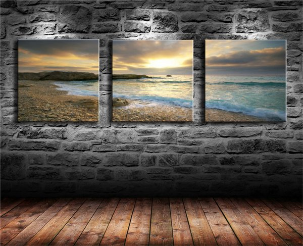 Sea In Sunset,3 Pieces Canvas Prints Wall Art Oil Painting Home Decor (Unframed/Framed) 12X24x3.