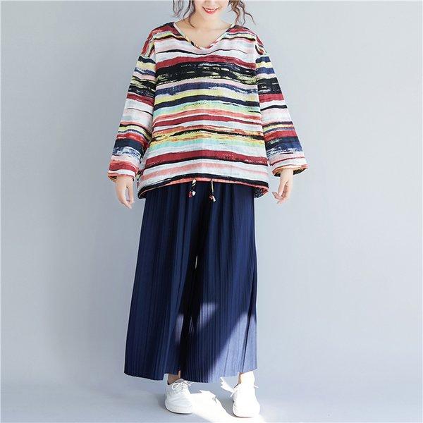 Plus Size Camisetas Mulheres Linho Do Vintage Básico Grandes Tops Tees Solta Senhora Feminina Com Decote Em V Camisas de Manga Longa de Impressão Listrado