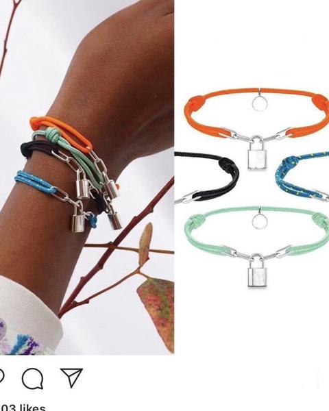top popular New Women Lover Bangle Handmade Adjustable Rope Chain Bracelet Charm Lock Pendant Titanium Stainless Steel for gift With letter 7colors 2021