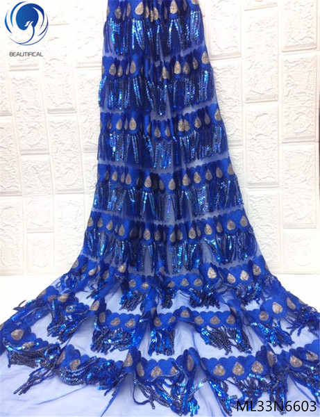 2019 blue French Lace Fabric High Quality African Laces Fabric With Sequins Embroidery For Sewing Beauty Women Dress ML33N66