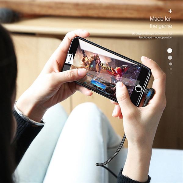 Micro USB / Typ C LED-Beleuchtungskabel Schnellladung für Android Xiaomi Redmi Hinweis 4 5 Pro 90 Grad Ladekabel USB-Datenkabel