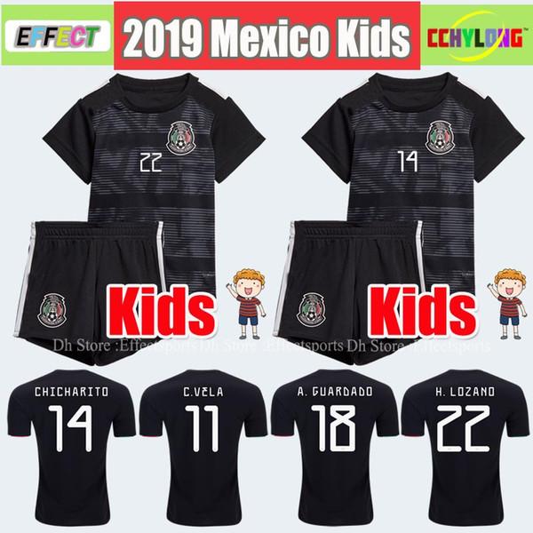 Kinder Trikot 2019 Mexiko Gold Cup Fußballtrikots Home Schwarz Jugend Jungen CHICHARITO Hemden Die Hemden von H.LOZANO DOS SANTOS VELA RAUL