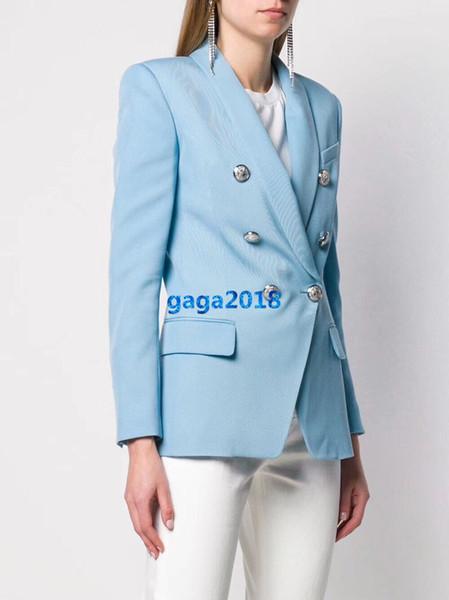 высокого класса женщины девушки двубортный пиджак костюм куртки воротник-шаль твердые плед повседневная рубашка блузка на заказ Милан дизайн одежды роскошный топ