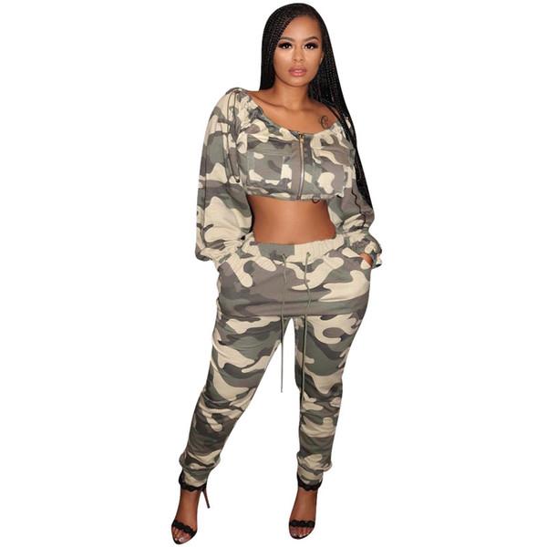 Camouflage stampa 2 pezzi abiti per le donne cerniera lampo lungo manica lunga crop + tasche con coulisse pantaloni casual felpa