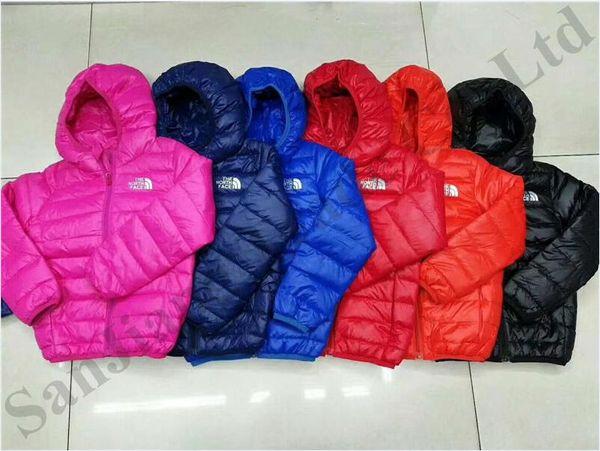 Children Junior Winter NF Down Jacket Kids Light Duck Down Coat The North Warm Hooded Coats Boy Girls Brand Face Designer Outwear ClothC8803