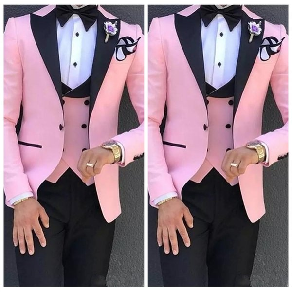 2019 Özel Örgün Erkek 3 Parça Pembe erkek Düğün Takım Bir Düğme Siyah Doruğa Yaka Örgün Smokin Slim Fit (Ceket + Pantolon + Yelek)