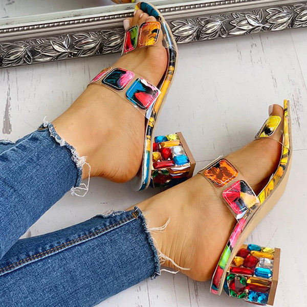 Fashion Lady slipper Crystal Square Heels Summer Women's Shoes Women Sandals Leisure woman Slippers candy Shoes for girl Rhinestone Slides