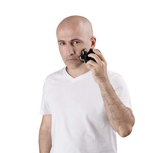 Rasoir électrique Pitbull Silver pour rasoir à tête de mort - Pour un rasage parfait au look chauve, humide et sec, 5 têtes 4d sans fil, rechargeable rotatif USB