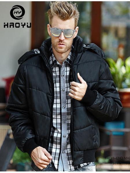 Men New Winter Coats Casual Black Parkas Men Zipper Windproof Keep Warm Slim Fit Outerwear Pule Size 4XL Puffer Jacket HAOYU